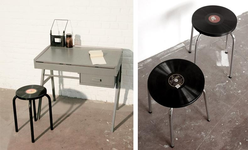atelier 4/5 - atelier4cinquieme - mobilier - reuse slow design - brocante - tabouret - vinyls - 33 stools